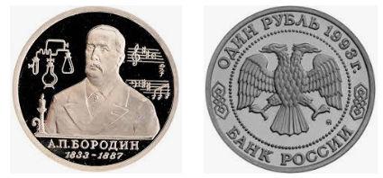 1 рубль 1993 года. 160-летие со дня рождения А.П.Бородина